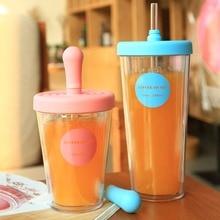 320/520 мл ABS+ PP двухслойная пластиковая чашка для кофе, сока портативная бутылка с соломинкой, герметичная прочная бутылка для воды#280525