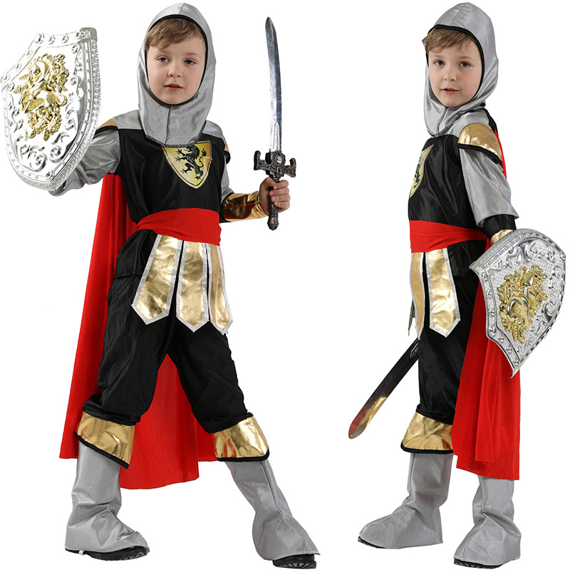 Handsome Kids Boys Royal Warrior Costume Halloween Christmas Masquerade Party Fancy Dress Roman Soldier Children Cosplay Clothes