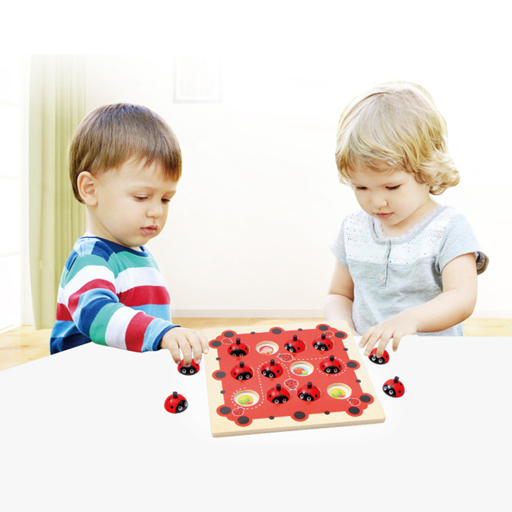 Baby Educational Puzzle Toys Wooden Memory Game Ladybug Memory Toy Chess Game Family Interaction Children'S Puzzle Game Toys