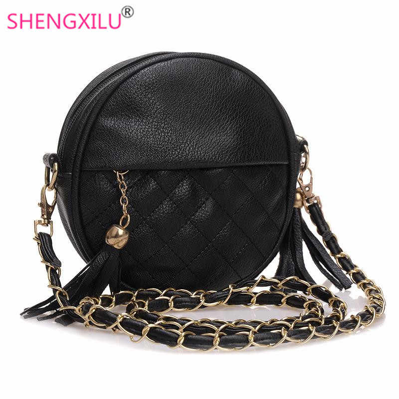 1bbfd133bcc Shengxilu Tassel Chain Small Women Bags Fashion Girls Messenger Bag Brand  Leather Crossbody Bags Candy Colors