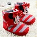 Lindo bebé de dibujos animados zapatos de bebé zapatos de la muchacha encantadora del arco-nudo zapatos infantiles niñas zapatos cómodos niño bebé