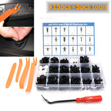 415PCS Plastic Car Fastener Rivets Retainers Push Pins+Steel Upholstery Remover+Trim Removal Tool Kit for bmw e46 m3