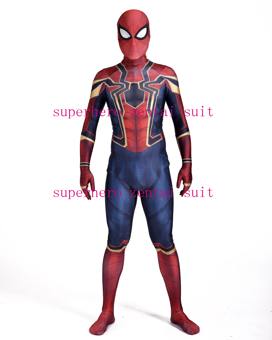 Homecoming Iron Spiderman Costujme 3D Print Spandex Spidey Suit Fullbody Spider Man Superhero Costume For Adult/Kids/Custom Made
