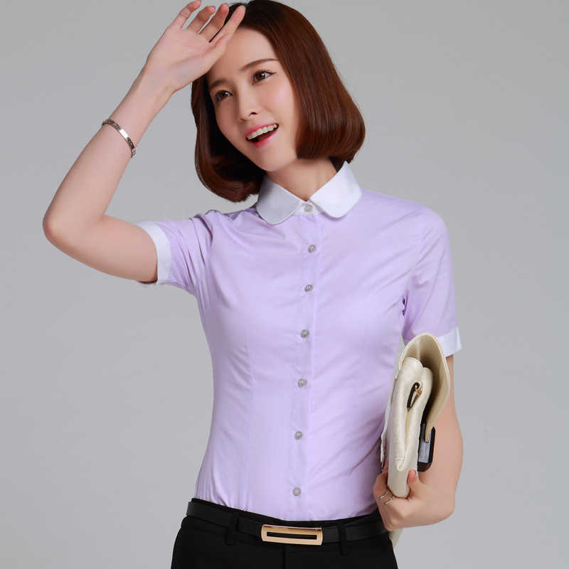 1b3bf95a158d17 ... Women Blouse New 2019 Stripe Formal Shirt Office Lady Short Sleeve Slim  Tops Peter pan Collar ...