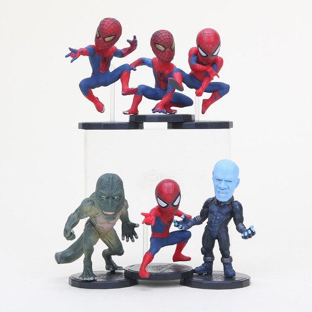 6 Pçs/set Super-heróis Figura de Ação The Amazing Spider-Man Spider Man Figuras Electro Lagarto figura PVC Brinquedos
