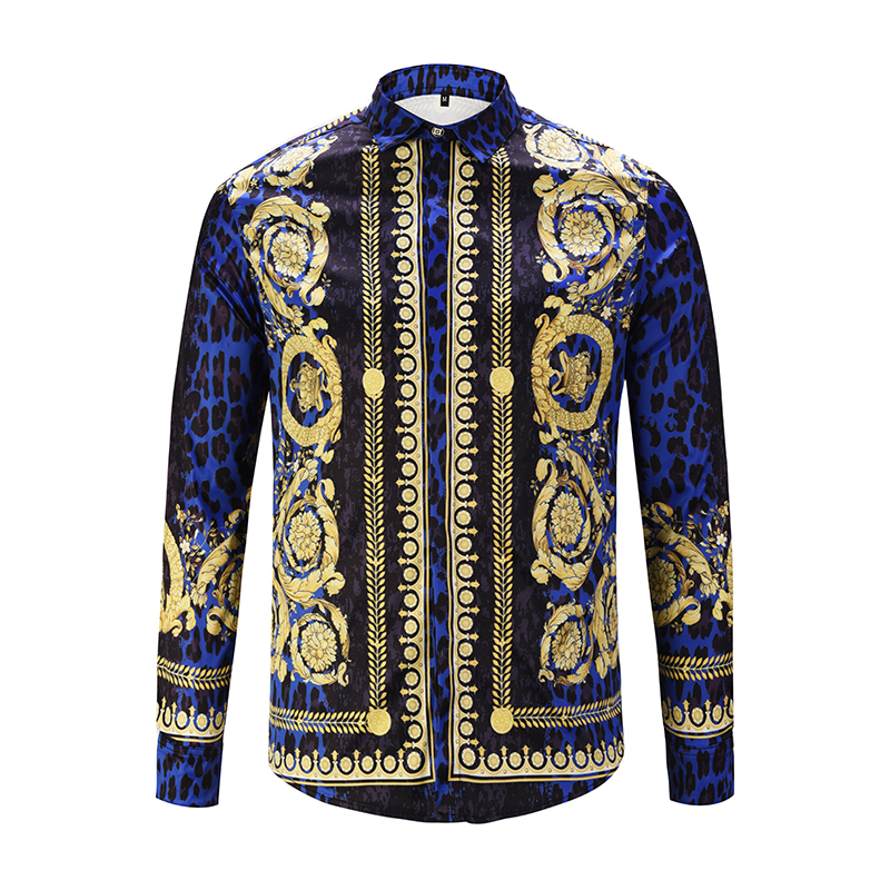 XIMIWUA 2019 New Men Shirts 3d Print Leopard Gold Floral Design Long Sleeve Casual Shirts Men's Fashion Shirts Chemise Homme
