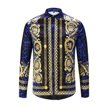 XIMIWUA 2019 New Men Shirts 3d Print Leopard Gold Floral Design Long Sleeve Casual Shirts Mens Fashion Shirts Chemise Homme