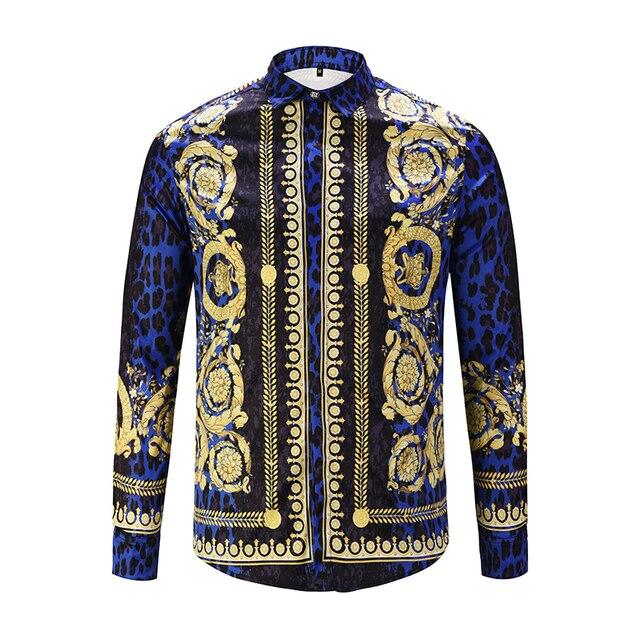 XIMIWUA 2019 nouveaux hommes chemises impression 3d léopard or Floral Design à manches longues chemises décontractées hommes mode chemises Chemise Homme
