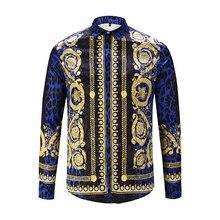 Ximiwua 2019 novos camisas masculinas 3d impressão leopardo ouro floral design manga longa camisas casuais camisas de moda masculina chemise homme