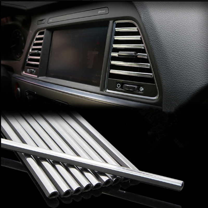 Car styling U Shaped DIY Air Vent <font><b>Grille</b></font> Decoration Strip for Mercedes <font><b>Benz</b></font> A180 A200 A260 W203 W210 W211 AMG <font><b>W204</b></font> C E S CLS CLK image