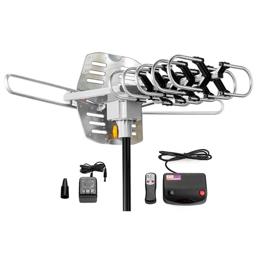 150 Miles Outdoor TV Aerial Motorized Amplified Device High Gain 36dB UHF VHF HDTV Aerial Universal TV Accessories