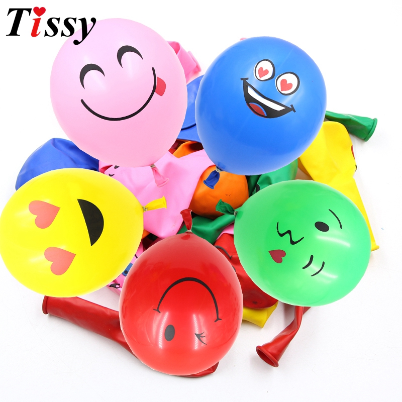 20PCS/Lot 12inch Colorful/Yellow Emoji Face Expression Latex Balloons For Wedding Birthday Party Decoration Kids Toy Supplies