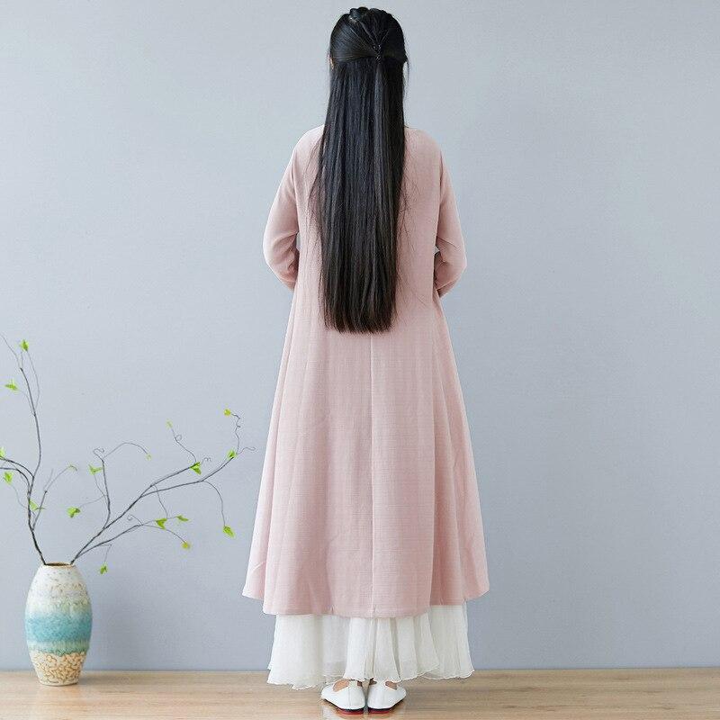 Automne hiver nouvelle robe chinoise col rond broderie rétro quotidien coton linge Art femmes vêtements rose - 5