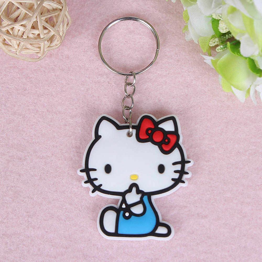 SUTI olá kitty cat keychain Anime pikachu Silicone corrente Chave Dos Desenhos Animados batman Homem Aranha homem surper bonito do anel chave chaveiro