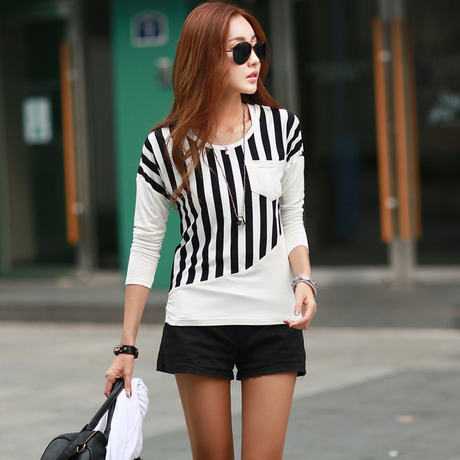 Casual Cotton Stripe T Shirt Top Long Sleeve Round-Neck