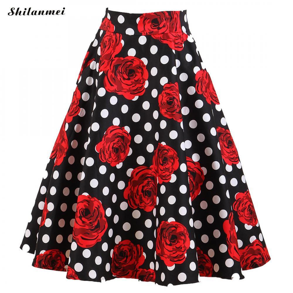 b9b882b4dc4 Vintage Red Rose Flower Polka Dot Print Skirt High Waist Midi Skirts  Elegant Saia Plus Size 2018 Summer Ladies Slim Faldas Mujer