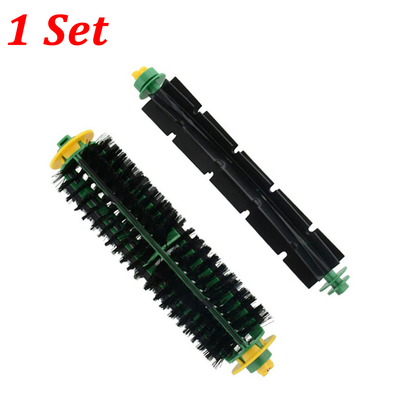 1 Set Replacement Bristle Brush + Flexible Beater Brush For iRobot Roomba 500 Series 510 550 560 570 580 610 Vacuum Cleaner Part 14pcs free post new side brush filter 3 armed kit for irobot roomba vacuum 500 series clean tool flexible bristle beater brush