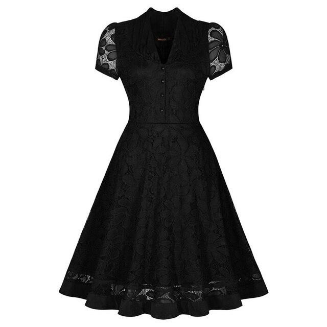 Женщин летнее платье 2016 старинные v-образным вырезом Cap рукавом 1950 s хепберн стиль рокабилли ну вечеринку черное кружево платье-линии платья
