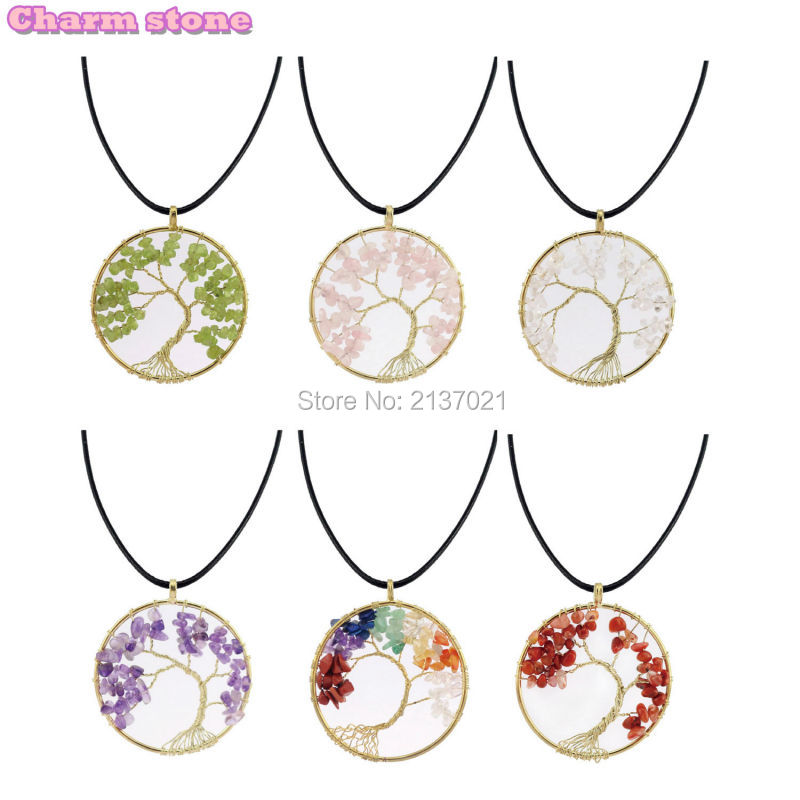 2017 New arrival natural 7Chakra crystal Pendant Rainbow life tree Energy stone choker necklace Jewelry for