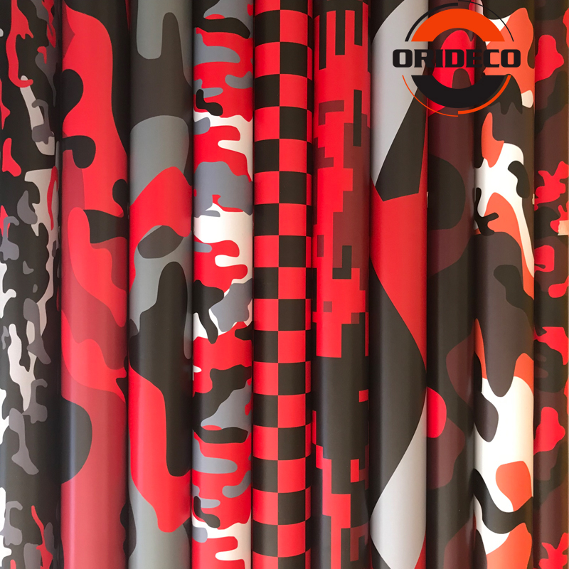 Hot Sale 10/20/30/40/50cm*152cm Red Black Camouflage Adhesive PVC Vinyl Film Car Wrap For Motorcycle Truck Car DIY Decal image