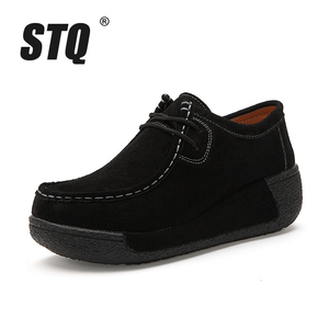 Image 5 - STQ 2020 Spring Women Flats Platform Sneakers Shoes Women Casual Shoes Leather Suede Moccasins Shoes Women Lace Up Creepers 3582