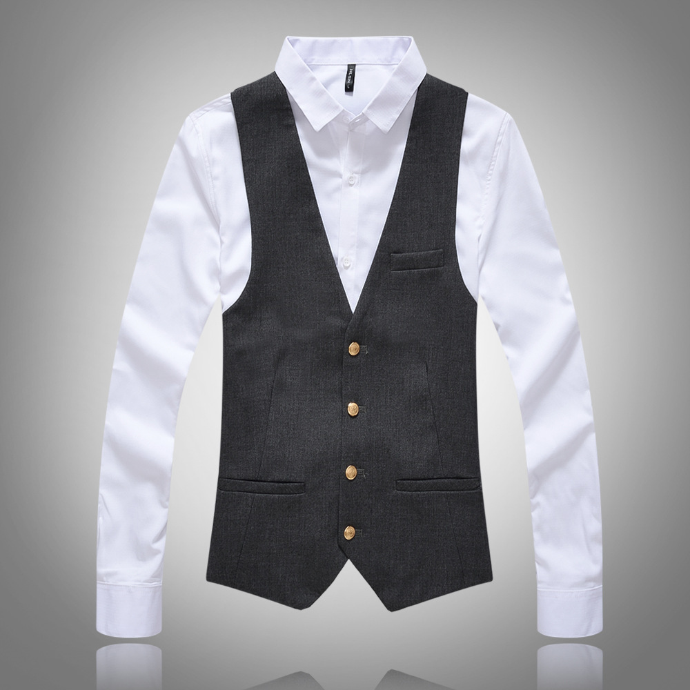 2019 New High-grade Men Dress Vests Slim Fit Mens Suit Vest Button Top Waistcoat Casual Sleeveless Formal Business Brand Jacket