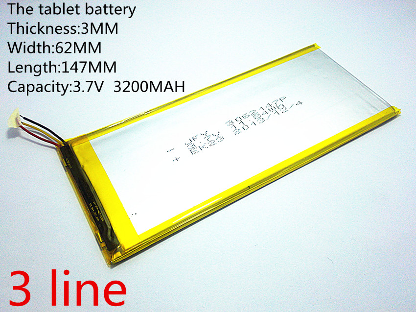Digital Batterien Gutherzig 3 Linie Liter Energie Batterie Die Tablet Batterie 3062147 3,7 V 3200 Mah 3060145 Polymer Lithium-ion/li-ion Batterie Für Tablet Pc,