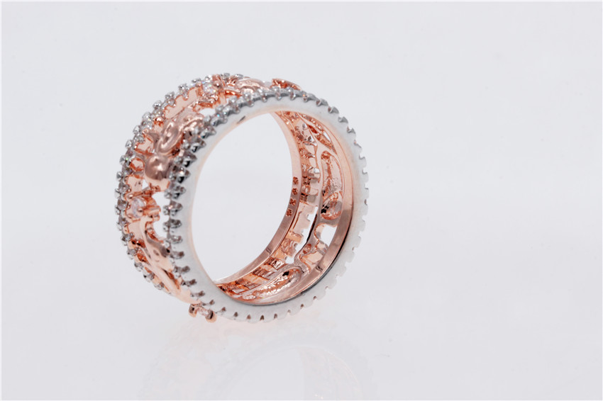 Uloveido Elephant Rings for Women Cubic Zirconia Rose Gold Color