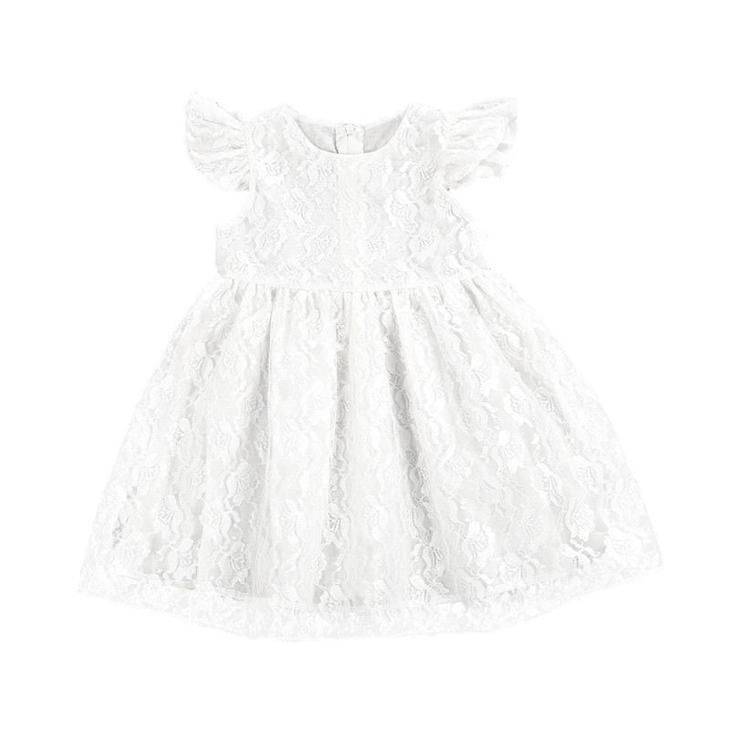 Toddler Baby Xmas Girls Princess Dress Summer Round Neck Lace Flower White Solid Girl Clothing Cute Party Wedding Dresses summer 2017 new girl dress baby princess dresses flower girls dresses for party and wedding kids children clothing 4 6 8 10 year