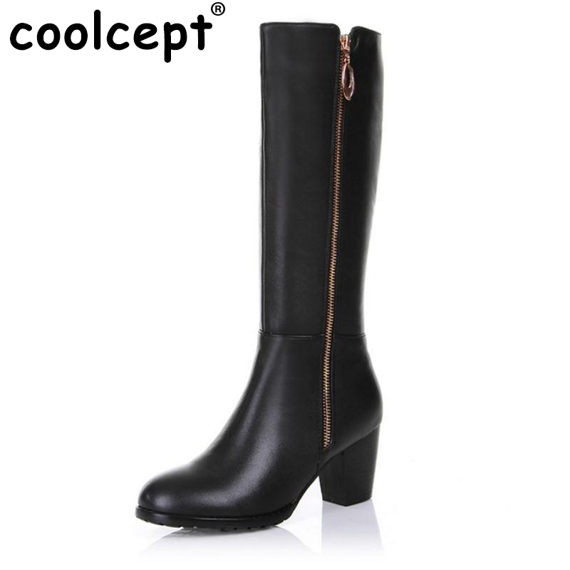 CooLcept Free shipping over knee long boots natural real genuine leather boots women snow high heel shoes R4631 EUR size 31-45 coolcept free shipping genuine leather quality high heel wedge sandals women fashion platform heels sandal r4222 eur size 34 39