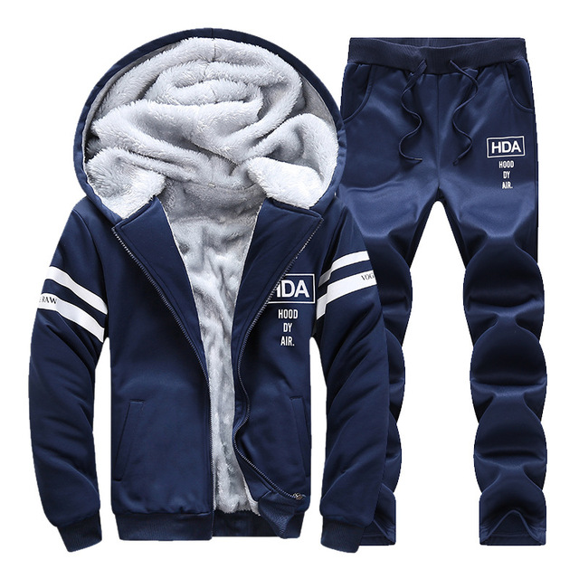 Winter Tracksuits Men Set Thicken Fleece Hoodies + Pants Suit Sweatshirt Set Male Hooded Warm Sporting Suits Moleton Masculino 3