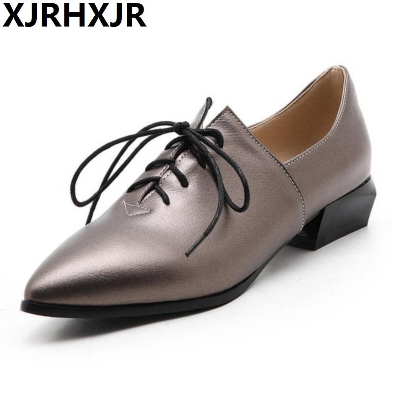 XJRHXJR Vintage Women Lace-up Pointed Toe Pumps Thick High Heel Shoes Oxfords Shoes Woman Fashion Women Heeled Shoes Size 33-43 fashion suede leather heeled sandals pointed toe lace up women pumps spikle high heel women shoes zapatos mujer
