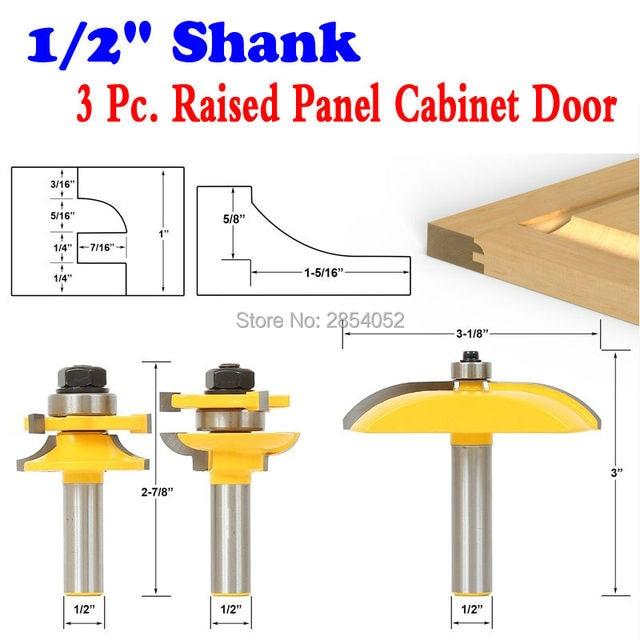 Raised Panel Cabinet Door Router Bit Set 3 Cove 1 2 Shank