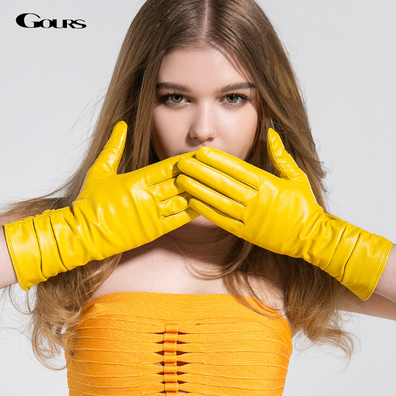 Gours Winter Long Genuine Leather Gloves Women Fall 2016 New Fashion Brand Ladies Red Warm Gloves
