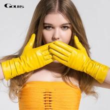 Gours Winter Long Genuine Leather Gloves Women Fall 2016 New Fashion Brand Ladies Red Warm Gloves Girls Goatskin Mittens GSL005