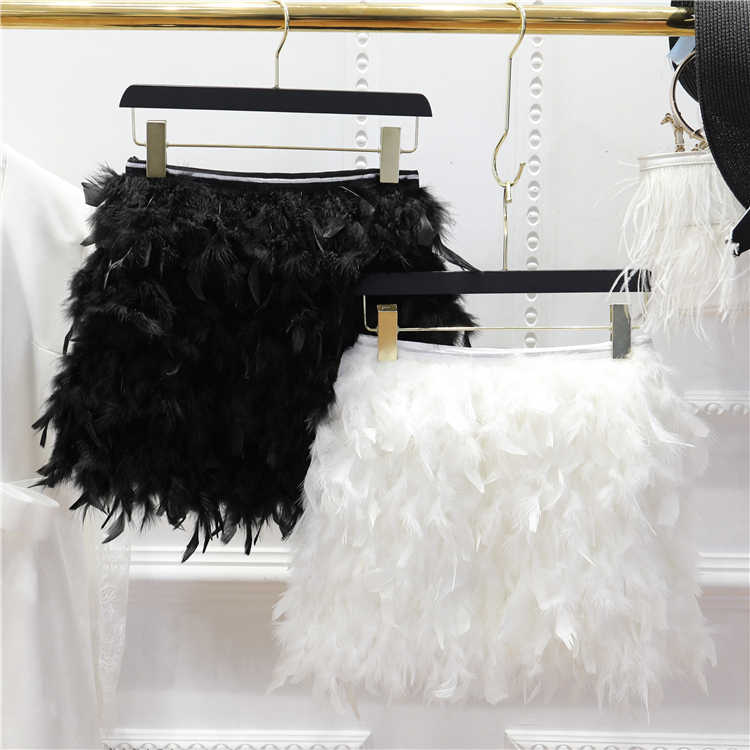 5a036b98a186 ... 2018 Winter New Women's Feather Skirt Princess Sweet Mini Skirt Ladies  Fashion Black / White Feathers