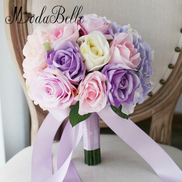Modabelle Blumenstrauss Kunstliche Rosa Brautstrauss Rose Blume Lila