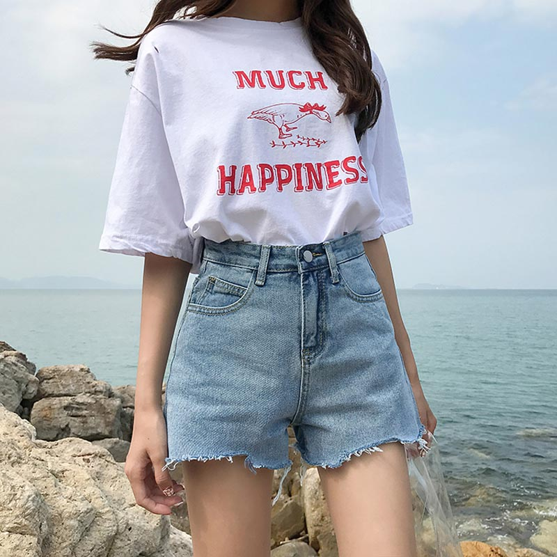 2018 New Women Summer Denim Shorts High Waist Denim Cotton Shorts Irregularly Ripped Chic Denim Shorts Female #8602