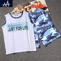 Neue Angekommene Kind Jungen 2 STÜCK Kleidung Set Sommer Sleeveless Weste + Shorts Camouflage Kinder Freizeitkleidung Sets Teen Boy 11Y