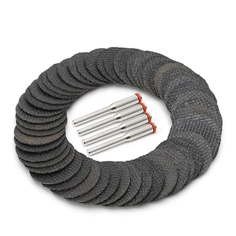50Pcs Fiberglass Tool Abrasive Cutting Disc Cut Off Wheel With 4 Mandrels Rotary