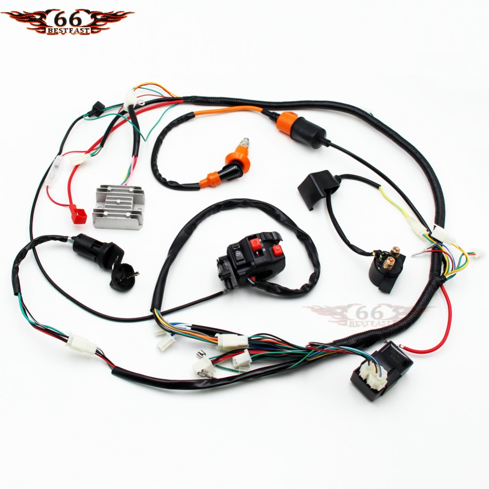 Gy6 150cc 200cc 250cc Full Electrics Stator Wire Harness Loom Wiring Complete Electric Cdi Performance Coil Spark Plug Switch Atv