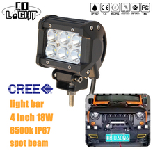 CO LIGHT 18w Led Light Bar 4 3 inch Work Light Cree Chip Spot Flood Beam