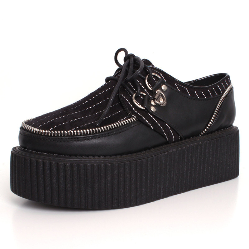 ФОТО New arrival 2017 Spring Autumn street punk black creepers lace-up zipper creepers platform goth punk shoes women creeper