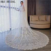 H&S Bridal New Voile 3.5M veil One Layer Lace Edge Ivory Cathedral Wedding Veil Long Bridal Veil Cheap Veu de Noi longo