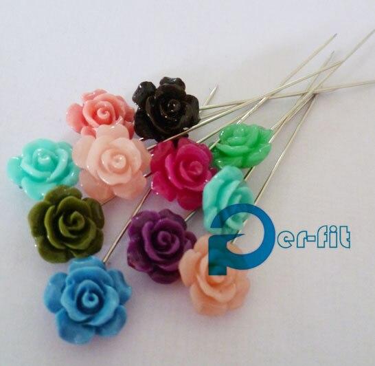 scarf rose stick pins flower scarf pins muslim khaleeji fix safety pins 120pcs/lot mix colors