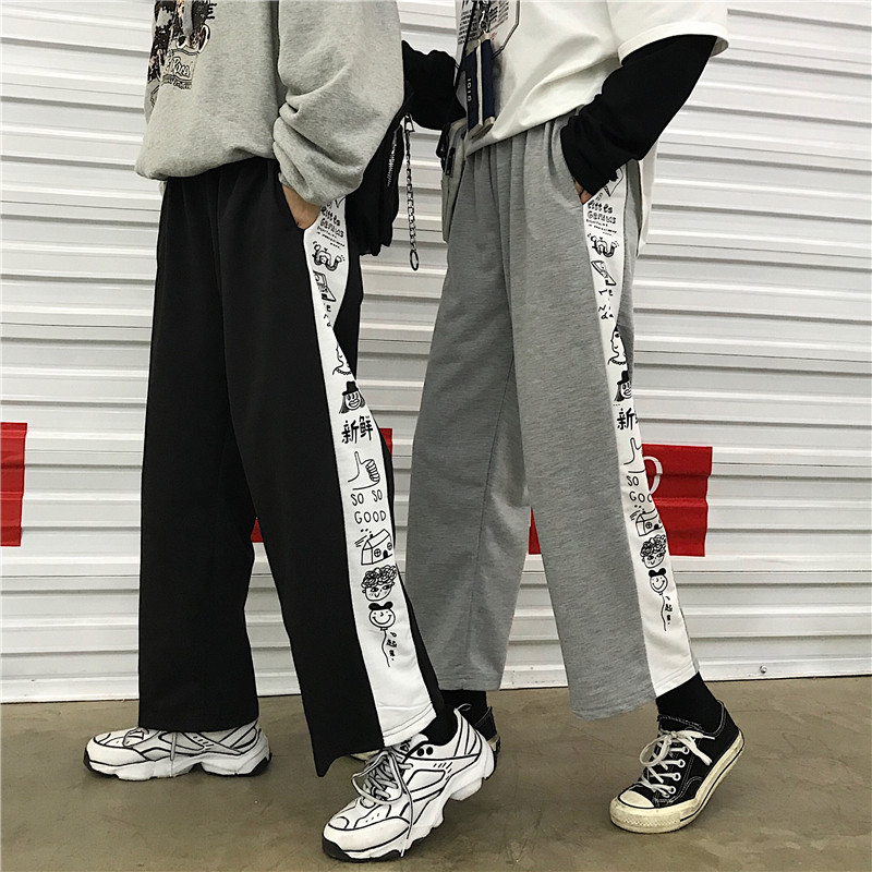 New Spting Ins Women   Pants   Harajuku Comics Loose Slim Casual   Pants   High Waist   Wide     Leg     Pants   Trousers for Female