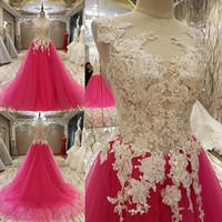 Custom Made 2017 New Design A Line Tulle Appliques Beading Lace Luxury Gorgeous Long Evening Dresses
