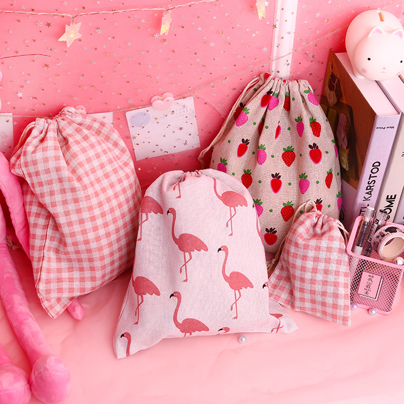 Candy Drawstring Bag Cute Students Sweet Pink Girls Canvas Sack Linen Bag Women Portable Dustproof Travel Bags