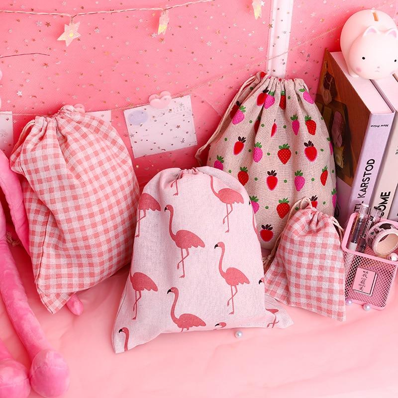 Candy Drawstring Bag Cute Students Sweet Pink Girls Canvas Sack Linen Bag Women Portable Dustproof Travel Bags