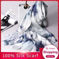 100% Real Silk Scarf Women 2019 New Luxury Print Shawls and Wraps for Ladies Scarf Silk Pure Hangzhou Silk Scarves Foulard Femme